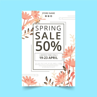 Flat design floral spring sale flyer template