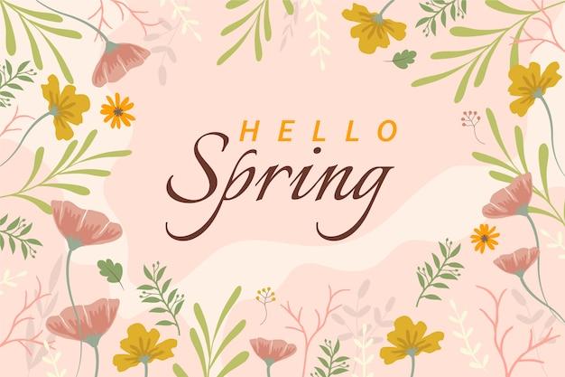 Flat design floral spring wallpaper with lettering