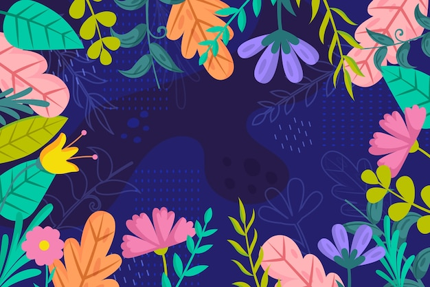 Flat design floral wallpaper style