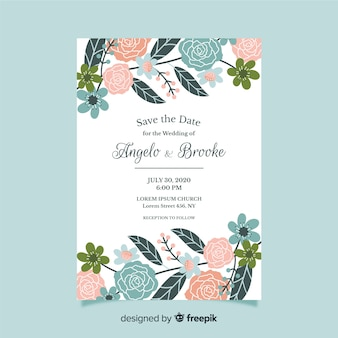 Flat design of floral wedding invitation template