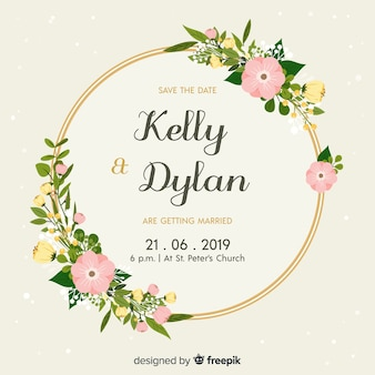 Flat design of a floral wedding invitation