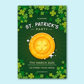 Flat design flyer for st. patrick's day template