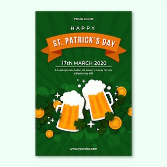 Flat design flyer for st. patrick's day