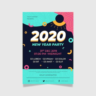 Flat design flyer template design new year 2020 party