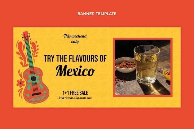 Flat design of food banner template