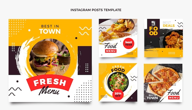 Flat design food ig posts set