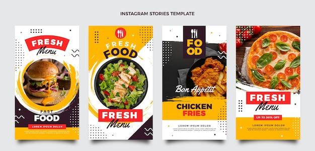 Flat design food ig stories set