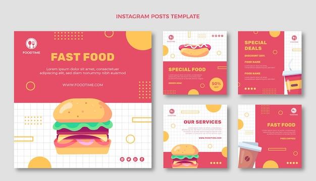 평면 디자인 음식 인스타그램 게시물