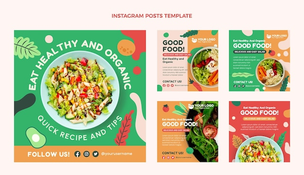 Flat design food instagram posts