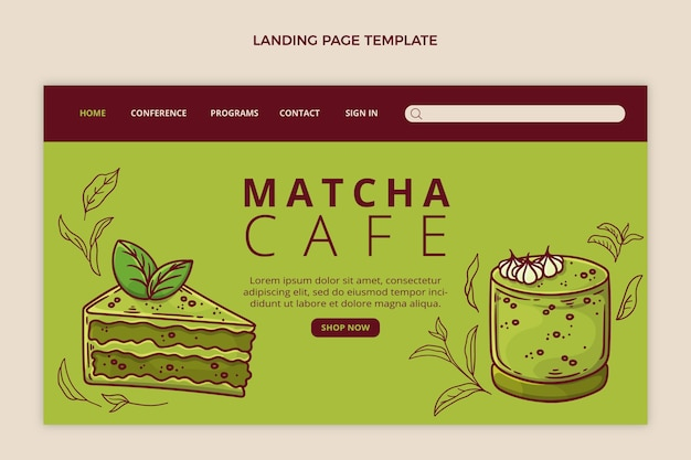 평면 디자인 음식 방문 페이지 템플릿