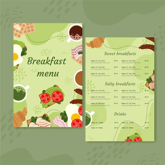 Flat design of food menu template