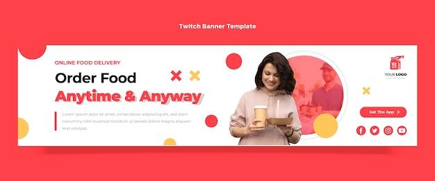 Flat design food order twitch banner