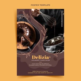 Flat design food poster template