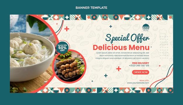 Flat design food sale banner template