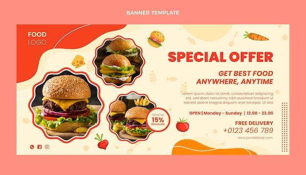 Плоский дизайн баннера для продажи еды со специальным предложением