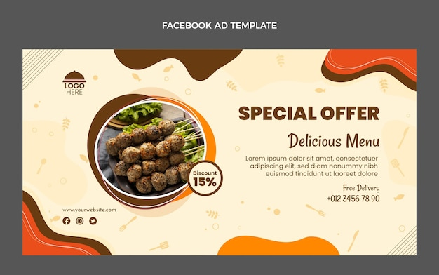 평면 디자인 음식 특별 제공 페이스 북 템플릿
