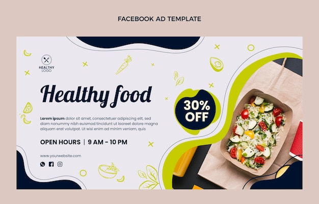 Flat design food template with discount
