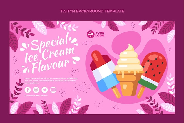Flat design offood twitch background