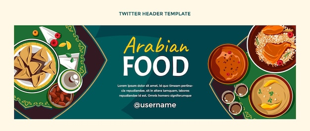 Design piatto dell'intestazione della contrazione del cibo