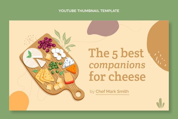 Miniatura di youtube con cibo dal design piatto