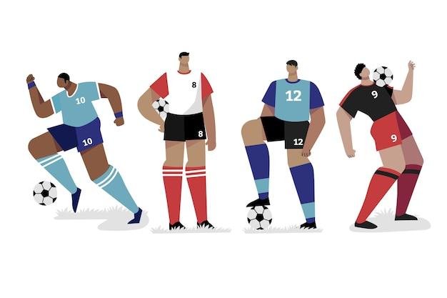 Flat design football player set