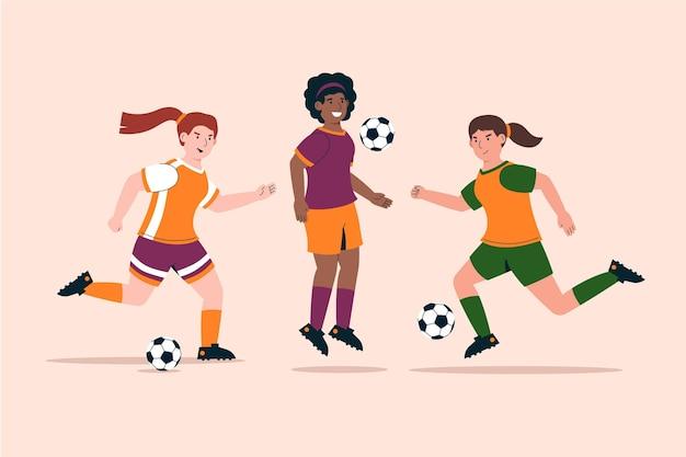 Set di giocatori di calcio dal design piatto