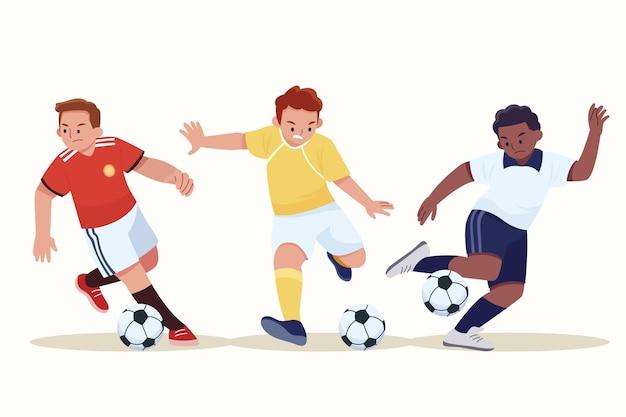 Flat design football players set