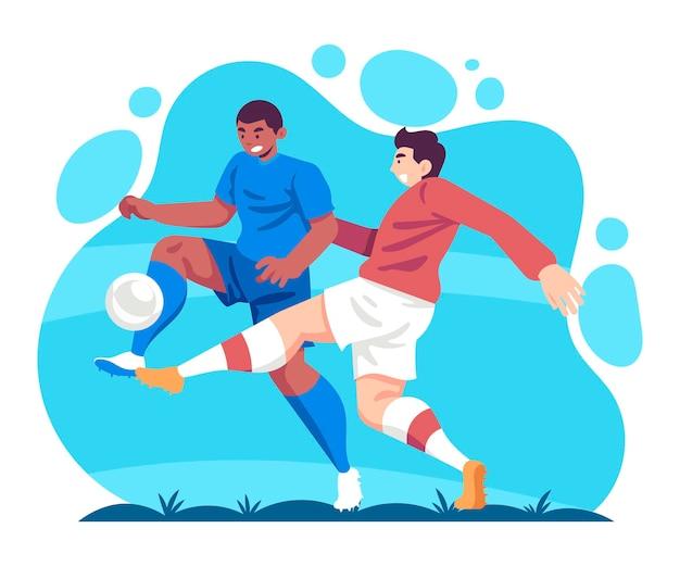 フラットデザインのサッカー選手