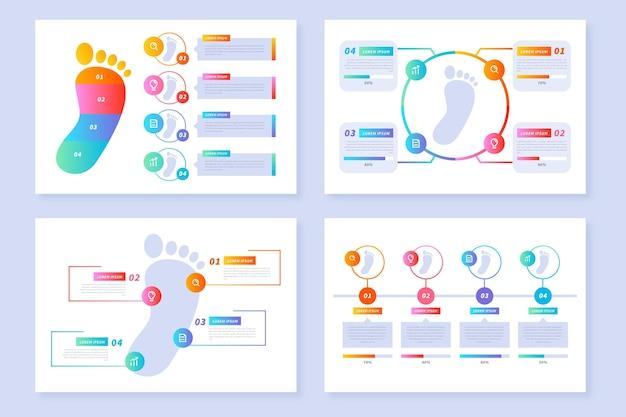 フラットなデザインのフットプリントのインフォグラフィック