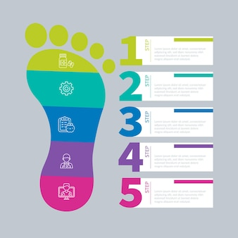Flat design footprint infographics