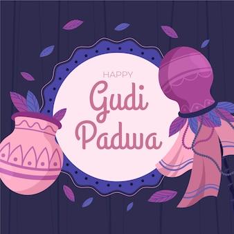 Плоский дизайн для мероприятия gudi padwa