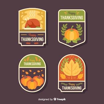 Плоский дизайн для коллекции этикеток благодарения