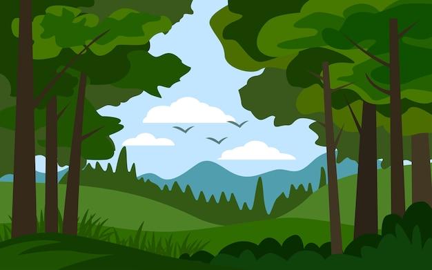 フラットなデザインの森の風景