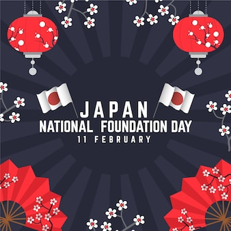 Flat design foundation day (japan) background with flowers and flags