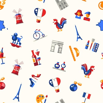 Flat design france travel seamless pattern with icons and infographics elements Premium Vector