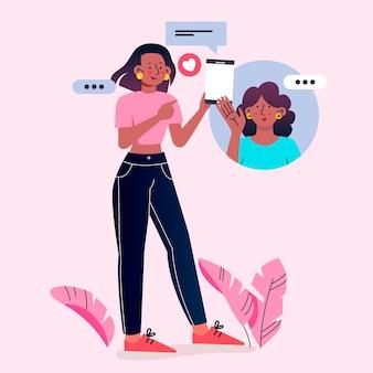 Плоский дизайн друзей видео звонки иллюстрации