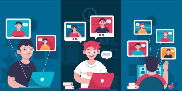 Flat design friends videoconferencing scenes