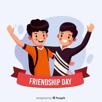 Flat design friendship day background