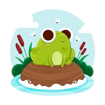 Flat design frog illustrated