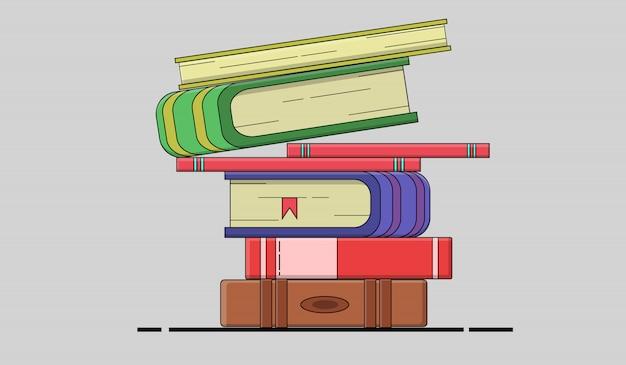 学習、教育、および学校のための本の山からフラットなデザイン