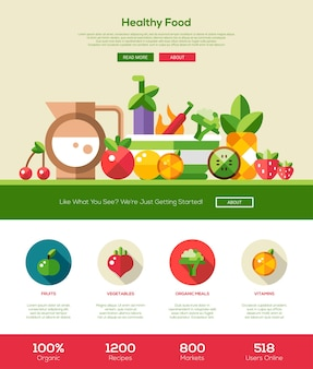 Плоский дизайн сайта фруктов и овощей