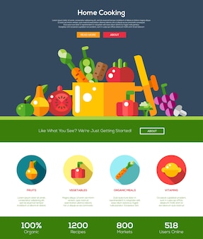 Flat design fruits and vegetables website