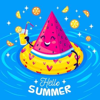 Flat design fun summer illustration
