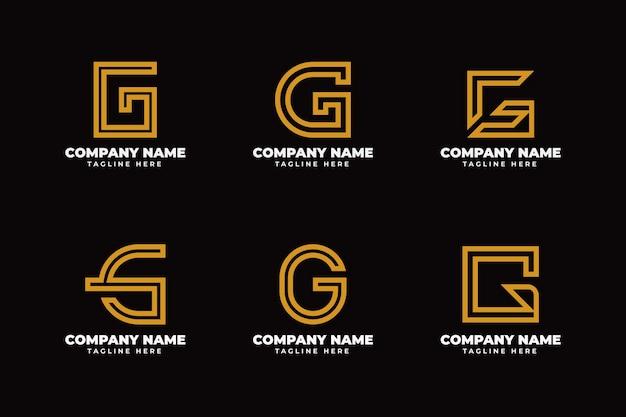 Flat design g letter logo collection