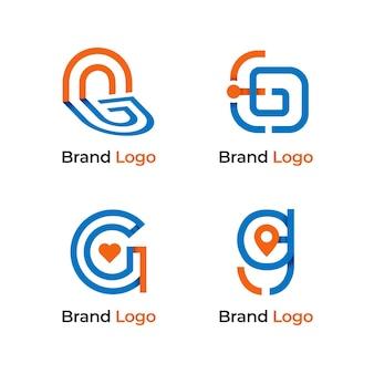 Flat design g letter logos set