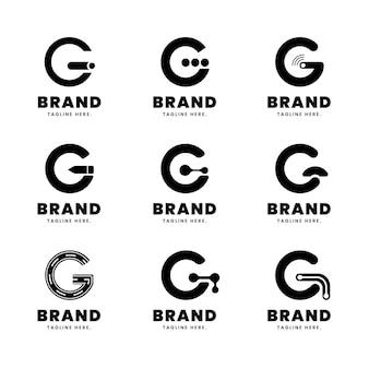 평면 디자인 g 문자 로고 세트
