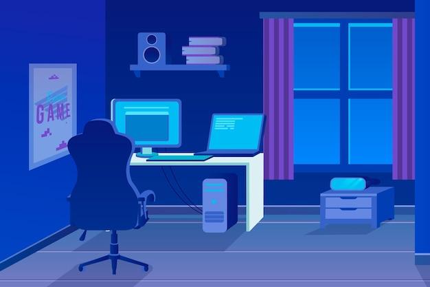 Плоский дизайн игровой комнаты