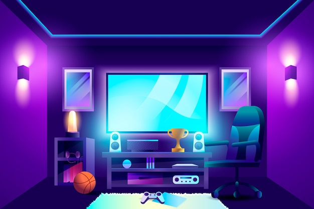 Flat design gamer room
