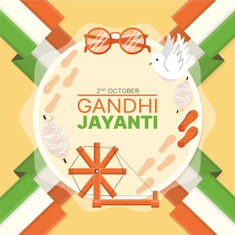 Flat design gandhi jayanti event indian flag