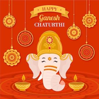 Flat design ganesh chaturthi concept